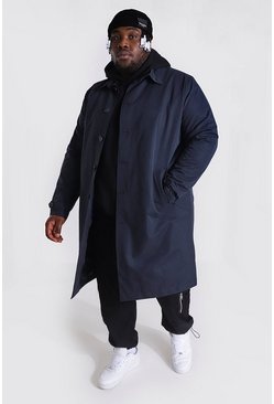 Navy Plus Size Single Breasted Mac