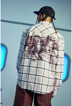 Brown Horses Back Print Check Oversized Shirt
