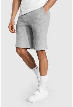 Grey marl Tall Mid Length Jersey Shorts With Draw Cords