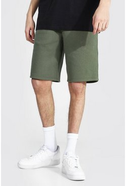 Khaki Tall Mid Length Jersey Shorts With Draw Cords