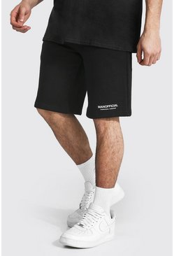 Black Tall Man Official Waistband Loose Fit Short