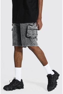 Black Tall Regular Cargo Acid Wash Jersey Shorts