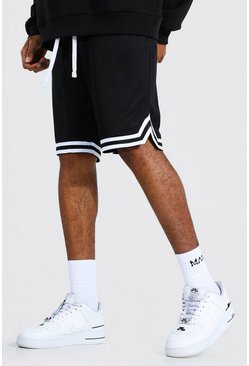 Black Tall Mesh Basketball Shorts With Tape
