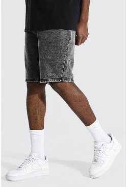 Black Tall Man Signature Regular Acid Wash Shorts