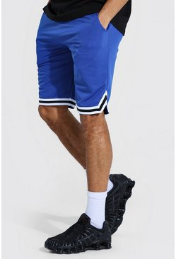 Blue Tall Airtex Basketball Shorts With Tape