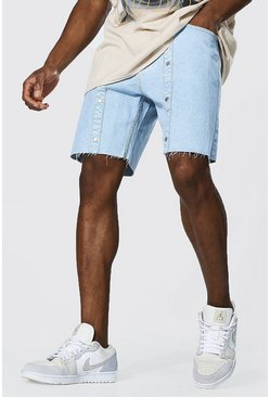 Ice blue Loose Fit Popper Denim Short