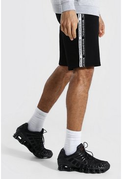 Black Tall Man Official Tape Mid Length Shorts