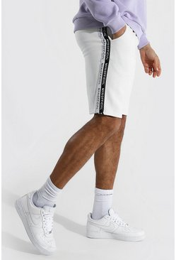 Ecru Tall Man Official Tape Mid Length Shorts