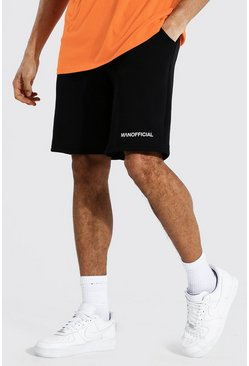 Black Tall Man Official Waistband Mid Jersey Short
