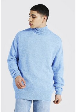 Blue Funnel Neck Boucle Knitted Oversized Jumper