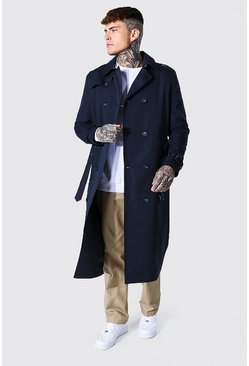 Navy Long Length Double Breasted Mac