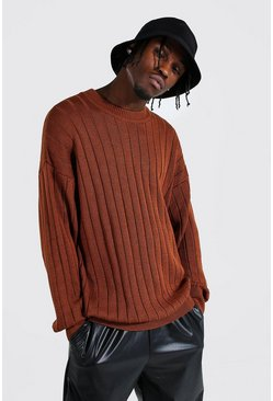 Oversized Ribbed Knitted Crew Neck Jumper, Rust