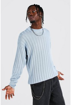 Dusty blue Oversized Ribbed Knitted Crew Neck Sweater