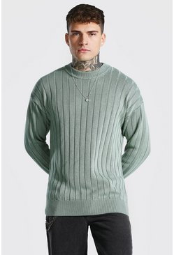 Sage Oversized Ribbed Knitted Crew Neck Jumper