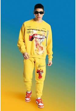 Mustard Official Man Basketball Print Tracksuit