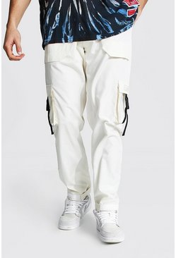 Ecru Multi Pocket Cargo Trousers
