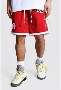 Red Official Man Mesh Basketball Short