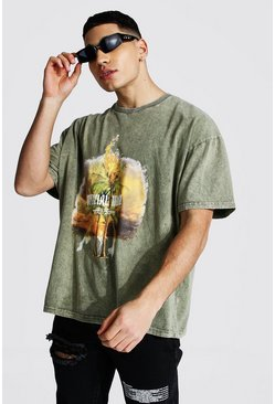 Green Man Official Oversized Acid Wash T-shirt