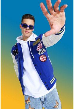 Blue  Tall Official Varsity Badge Bomber Jacket