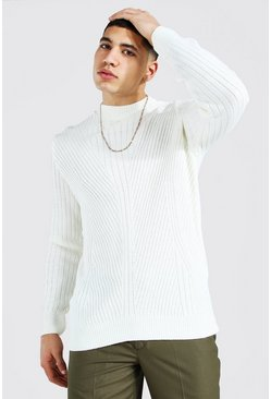 Cream Extended Neck Knitted Sweater With Moving Ribs