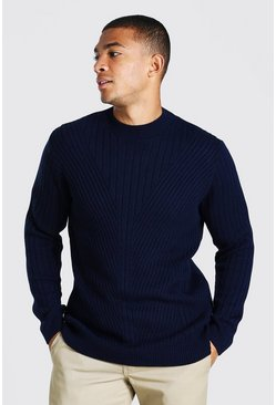 Navy Extended Neck Knitted Jumper With Moving Ribs