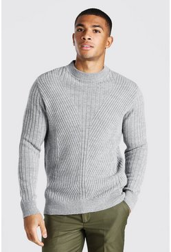 Grey marl Extended Neck Knitted Jumper With Moving Ribs