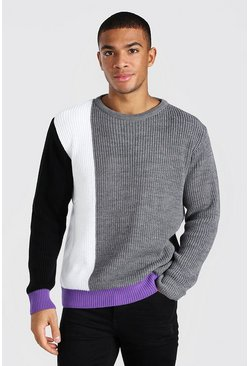 Purple Regular Fit Colour Block Crew Neck Knitted Jumper