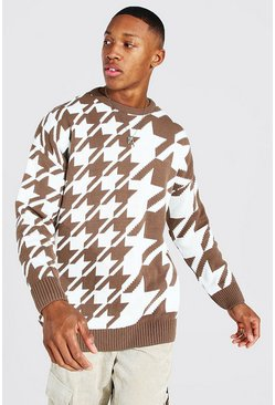Brown Oversized Spliced Dogtooth Knitted Sweater