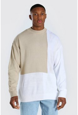Cream Colour Block Turtle Neck Knitted Sweater