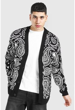 Black Bandana Knitted Cardigan