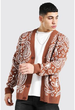 Rust Bandana Knitted Cardigan