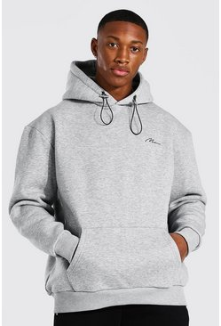 Grey marl Man Signature Bungee Oversized Hoodie