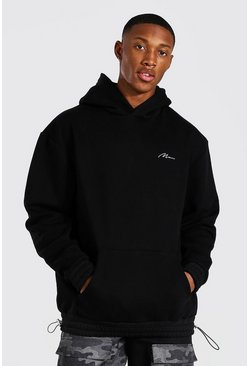 Black Man Signature Bungee Hem Oversized Hoodie