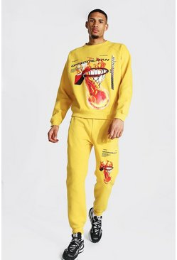 Mustard Tall Official Man Basketball Print Tracksuit