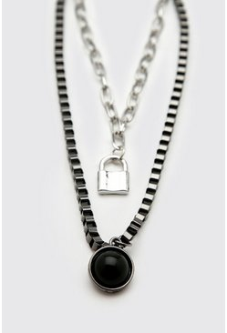 Silver Double Layer Chain With Pendant