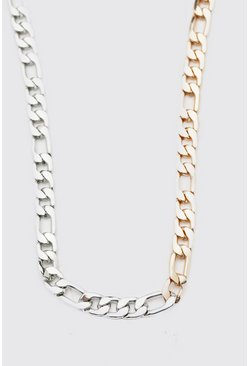 Multi Two Tone Chunky Figaro Chain Necklace