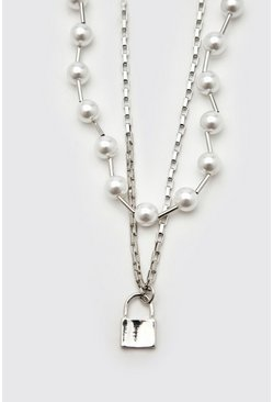 Silver Double Layer Chain With Pearls And Padlock