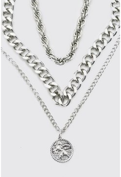 Silver Triple Layer Chain  With Coin Pendant
