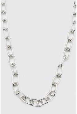 Silver Anchor Chain Necklace With Toggle