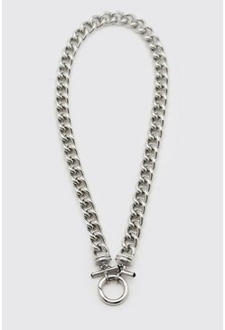 Silver Chunky Chain With Toggle Detail