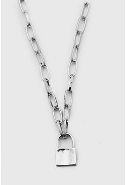 Silver Anchor Chain Necklace With Padlock
