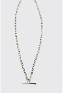 Silver Chain Necklace With T Bar