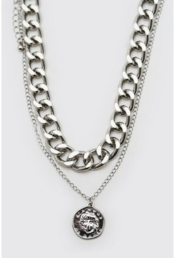 Silver Double Layer Chunky Chain Necklace