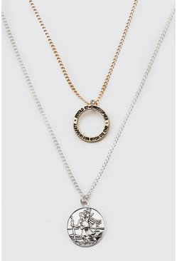 Multi Double Layer Two Tone Pendant Necklace
