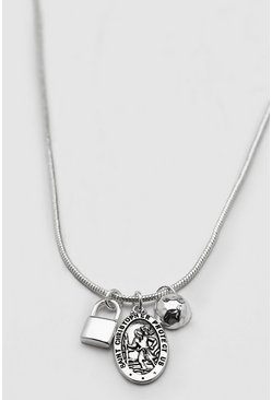 Silver Triple Pendant Chain Necklace
