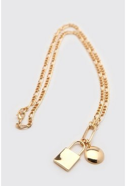 Gold Chain Necklace With Padlock Detail