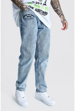 Ice blue Relaxed Fit Embroidered Zip Hem Jean