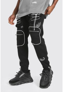 Black Bandana Embroidered Utility Cargo Jogger