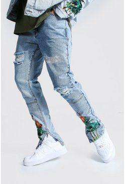 Skinny Jean With Palm Tree Print, Ice blue