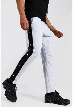 Grey marl Man Signature Slim Popper Joggers